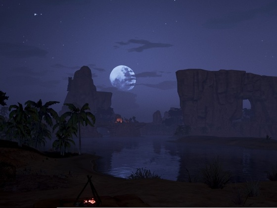 Flusstal bei Nacht